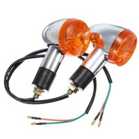 Wholesale 4x Motorcycle Turn Signal - 4x Motorcycle amber Chrome Bullet Front Rear Turn Signal Blinker Indicator