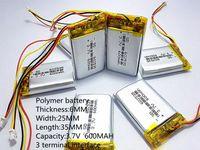 Wholesale Gps Model - Hot selling 3.7V 600mAh Rechargeable li Polymer Li-ion Battery For headphones tachograph MODEL 582535 SP5 mp3 mp4 GPS PSP 602535 062535