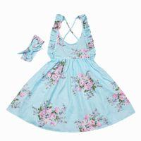 Wholesale Knee Length Beach Sundresses - Retail Summer New Girls Dresses Bohemian Style Backless Lemon Floral Cotton Holiday Sundress+Headband Children Clothing 1-7Y 7124