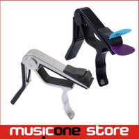 Wholesale Pick Classical Guitar - Function Black Chrome Alloy Guitar Capo With Pick Holder Guitar Cappo For Acoustic, Electric, Classical Guitar