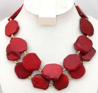2 Strands Femme Rouge Turquoise Slice Stone Choker Collier Gold Bead Mixed