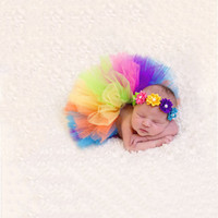Wholesale Rainbow Costume Girls - Colorful Rainbow Colors Cute New Born Costume Outfit Newborn Baby Photography Props Sweet Photo Props Skirt Flower Headband