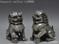 Wholesale Chinese Silver Statue - christmas chinese fengshui lucky silver evil spirits Exorcism Foo fu dog lion statue pair halloween