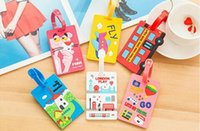 Wholesale Cartoon Luggage Tags - 2017new 10 Styles Fashion cartoon Silicone Luggage Tag Travel Suitcase Tag Cute Cartoon Luggage Identification Boarding Pass Checked Label
