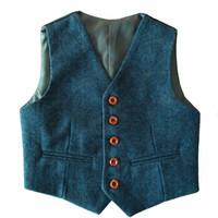 Wholesale Cheap Suits For Kids - 2017 Custom Made Boy's Formal Wear Blue Herringbone Tweed Vest Cheap Sale Only Vest For Wedding Kids Boy Formal Wear