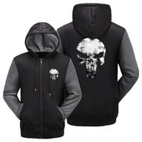 Wholesale Warm Men Zip Up Hoodie - Wholesale- WISHOT The Punisher Skull Super Warm Thicken Fleece Zip Up Hoodie Men's Coat movie cotton NEW