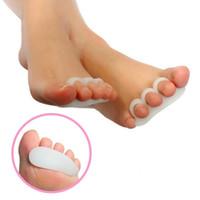 ortopedik ayakkabı jöleleri toptan satış-2 adet Jel Ayak Ayırıcılar Sedyeler Hizalama Örtüşen Toes Ortez Hammer Toes Ortopedik Yastık Ayak Bakımı Ayakkabı Tabanlık