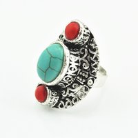 Wholesale Vintage Bead Craft - R037 Turquoise Stone Ring 1PC Vintage Look Retro Craft Tibet Antique Silver Three Stone Bead Green Red Adjustable