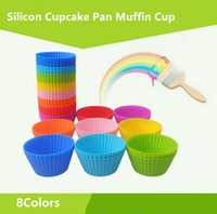 Wholesale Silicon Baking Moulds - 8colors Pantry Elements Silicone Muffin Mould Round Shaped Silicon Cake Baking Molds Jelly Mold Silicon Cupcake Pan Muffin Cup Baking Cups
