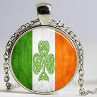 Wholesale Irish Necklaces - New Arrival Handmade Irish Flag Pendant Shamrock Irish Flag Necklace