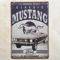 teneke kutu işareti kahve dükkanı bar toptan satış-Mustang Ford tabela Vintage ev Bar Pub Otel Restoran Kahve Dükkanı ev Dekoratif Metal Retro Metal Posteri Kalay Işareti