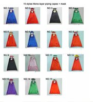 Wholesale Wholesale For 15 - 15 styles one-layer include logo 70*70CM Super hero Capes and mask set Superhero cosplay capes+mask Halloween cape mask for Kids 2pcs set
