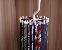 clothing rack wholesale 2018 - 2016 Hot Sales Mens Rotating Organizes 20 Ties Rack Adjustable Home Storage Hanger Plastic Free Shipping