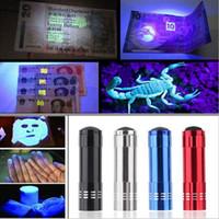 9led mini fackel uv großhandel-9LED Mini Aluminium UV Ultra Violet 9 LED Taschenlampe Schwarzlicht Taschenlampe Lampe 30PCS