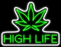 "Wholesale Life Signs - High Life Green Leaf Neon Sign Art Gift Real Glass Custom Handmade Store Bar Club Gameroom Home Decoration Display Neon Signs 31""X24"""