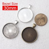 Wholesale Antique Round Pendant Trays - 30 pieces lot To fit 30mm round cabochon antique bronze silver plated vintage style alloy pendant tray settings