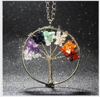 Wholesale Cluster Stone Necklace - Women Rainbow 7 Chakra Tree Of Life Quartz Pendant Necklace Popular Multicolor Wisdom Tree Natural Stone Necklace gifts Fashion Jewelry 2017