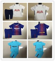 Wholesale Boys Suites - 1718 Thai version of Spain and England white lily home short sleeve football suite Arda Turan and Harry Kane children's football T-shirt