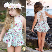 Wholesale Vintage Clothing For Children - Rose Floral Printed Cotton Baby Rompers headband Vintage Baby Girl Romper outfit Lace Floral Overalls for Children Baby Clothes