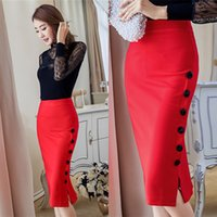 Wholesale Button Pencil Skirt - Elegant 2017 Women Skirt Midi Skirt Slim OL Sexy Open Slit Button Slim Pencil Skirt S-3XL ZL3217