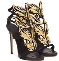 Wholesale Gold Leaf Shoes - 2017 Designer Flame metal leaf Wing High Heel Sandals Gold Nude Black Party Events Shoes Size 35 to 40