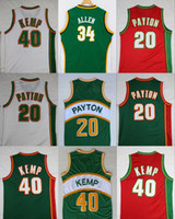 Wholesale Glove S - Throwback Seattle SuperSonics Basketball Jerseys 20 The Glove Gary Payton 40 Reign Man Shawn Kemp Shirts 34 Ray Allen 35 Kevin Durant Jerse