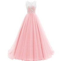 Wholesale Inexpensive Long Gold Dresses - Cheap High Quality Pink Prom Dress Long A Line Lace Top Sheer Neck Sleeveless Puffy Tulle Floor Length Evening Party Gowns Inexpensive