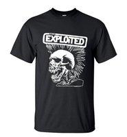 Wholesale Cheap Punk Shirts - Novelty Punk Style Skull T-Shirt Exploited Printed Mens Short 2017 Summer Streetwear Hip Hop O-Neck Tops Tee Cheap sold