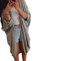 Wholesale three quarter cardigan coat - Wholesale- Women Casual Autumn Winter Three Quarter Sleeve Cardigan Ladies Loose Sweater Outwear Knitted Jacket Coat Tops Plus Size