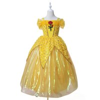 Wholesale Beauty Clothing - New baby girls Beauty and the beast dress summer cartoon Children cosplay Belle princess dresses Kids rose Clothing
