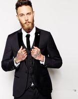 Wholesale Mens Dress Burgundy Suit - Slim Fit Mens Suits with Velvet Peaked Lapel Custom Made Groom Tuxedos Men's Wedding Dress Suits ( Jacket+Pants+Vest+Tie)