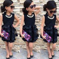 Wholesale Ol Dress Wholesale - Girls summer gauze lace sleeveless tutu dress little lady OL style dress kids outfits for 1-3T