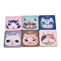 Wholesale Double Side Gift Mirror - Creative PU Leather Mirror Lovely Cat Portable Folding Double-sided Hand Pocket Makeup Cosmetic Square Mirror Girl Gift ZA2075