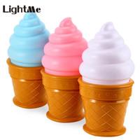 Wholesale ice desk - Wholesale- Lightme Bedside LED Night Light Cone Shaped Desk Table Light Kids Novelty Ice Cream LED Nightlight 2017 Hot Sale