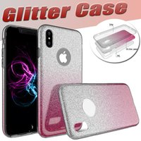 3 em 1 Gradient Glitter Bling Shiny Ultra fino Slim Soft TPU Gel Borracha Transparet Cover Case para iPhone X 8 7 Plus 6S Samsung Note 8 S8