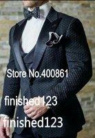 Wholesale Super Men Suits - Super Handsome Black Groom Tuxedos Groomsmen One Button Peak Lapel Best Man Suit Wedding Men's Blazer Suits (Jacket+Pants+Vest+Tie) K297