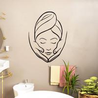 ingrosso autoadesivi della parete del vinile di bellezza-Adesivi murali salone di bellezza Spa Adesivi murali creativo massaggio ragazza Bagno decorativi adesivi murali in vinile