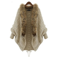Wholesale Wool Cape Fur Collar - Wholesale- Women Winter Cardigan Thick Poncho Capes Pull Femme Autumn Brand Fashion Knitted Fur Collar Wool Sweater Jacket Bat Sleeve Coat