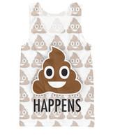 """Wholesale Shit For Women - Wholesale- Shit Happens Tank Top famous poop emoji text """"Happens"""" 3d print Vest tees For Unisex Women Men"""