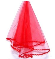 Wholesale Short One Shoulder Wedding - Stunning Red One-Layer Short Bridal Veils With Lace Edge Color Cheap Wedding Veil Wedding Accessory Free Shipping In Stock