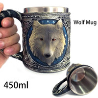 3d Animales Tazas Por Mayor Baratos-Al por mayor-Tazas de pared de acero inoxidable 3D Wolf Head doble taza de la cerveza taza de café Animal Drinking Cup Wolf King acero inoxidable personalizada 45