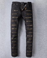 jeans robin preto homens venda por atacado-2019 homens buracos jeans robin manual colar de cristal asas de ouro preto robin jeans calças de zíper de moda dos homens