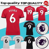 Wholesale Orange Patches - POGBA Home red Soccer Jersey 17 18 have Premier League patches LUKAKU away black soccer shirt 2018 RASHFORD third Football uniforms S-3XL
