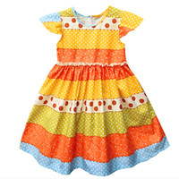 Wholesale Chinese Baby Girl Costume - Girls Dress Summer Wedding Dress Baby Girl Litter Girls Clothes Costume For Kids Party Dresses Princess Birthday Dress Colorful Stripe dot