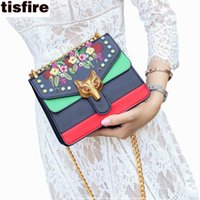 Wholesale Embroidered Buckles - Tisfire brand embroidered bag luxury handbags women bags designer rivet crossbody bag with fox buckle chain shoulder bags famous
