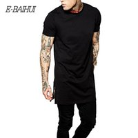 Crew Neck split brand clothing - E BAIHUI brand tops tees Casual Men long t shirt Hip hop Clothing Tops StreetWear t shirts Solid Short Sleeve t shirt
