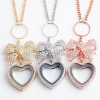 Wholesale Heart Shaped Platinum Pendant - Butterfly Heart-shaped Full of Crystal Flolating Locket necklace alloy collar choker necklace for women and girls ER365