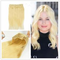 ingrosso estensioni dei capelli biondo un pezzo-Hair Extension # 613 Beach Blonde Peruvian Remy Capelli Umani 120g One Piece Con Fish Line regolabile