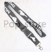 Wholesale Neck Strap Key Holder - Automobile wind MUSTANG Lanyard Keychain Key Chain ID Badge cell phone holder Neck Strap black.