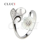 1Piece DIY 925 Sterling Silver Ring Pearl Fitting em Flower Design AIM Fashion Jewelry Charm Free Shipping